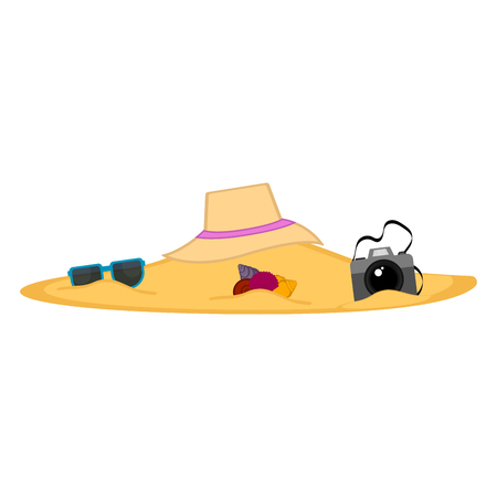 Summer objects buried on the beach sand. Vector illustration design