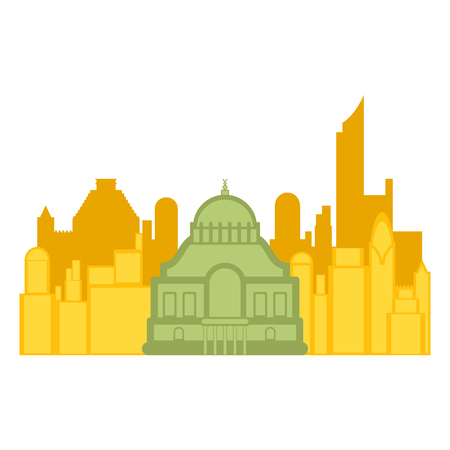 Colored cityscape of Mexico city with a famous building. Vector illustration design Ilustração