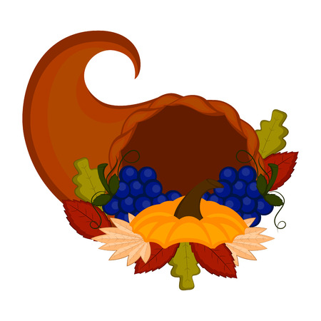 Cornucopia with grapes and leaves. Thanksgiving concept image. Vector illustration design Foto de archivo - 109814478