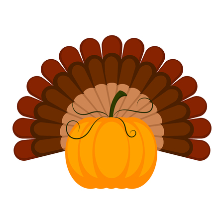 Pumpkin with turkey feathers icon. Thanksgiving concept image. Vector illustration design