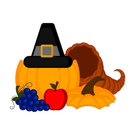 Pumpkin with pilgrim hat and thanksgiving food. Vector illustration design Foto de archivo - 109814488