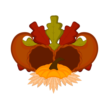 Pair of cornucopias with leaves. Thanksgiving concept image. Vector illustration design