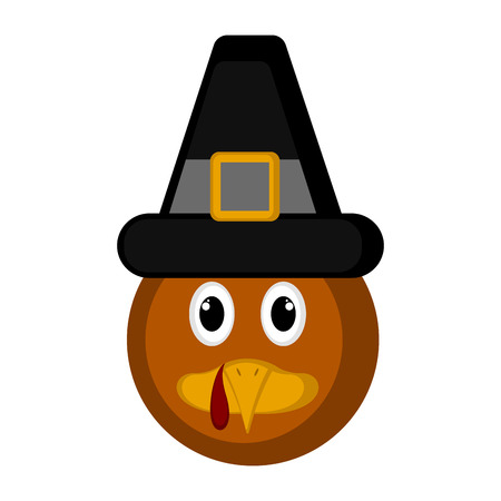 Avatar of a turkey bird with a pilgrim hat. Vector illustration design