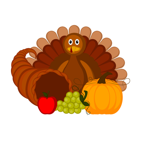 Turkey bird with traditional thanksgiving objects. Thanksgiving concept image. Vector illustration design Foto de archivo - 109814510