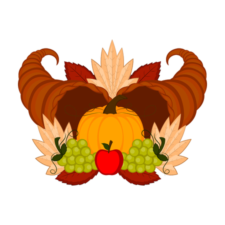 Cornucopias with grapes and a pumpkin. Thanksgiving concept image. Vector illustration design