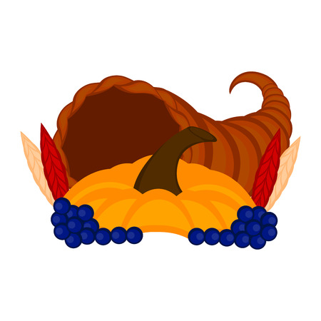 Cornucopia with a pumpkin and grapes. Thanksgiving concept image. Vector illustration design