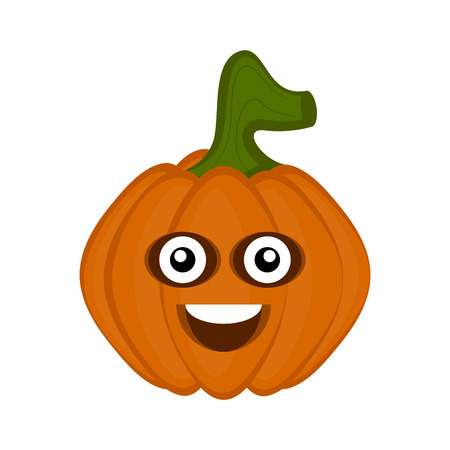 Happy Halloween pumpkin cartoon character. Vector illustration design Çizim