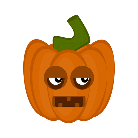 Disgusted halloween pumpkin cartoon character. Vector illustration design