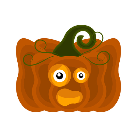 Happy Halloween pumpkin cartoon character. Vector illustration design Illustration