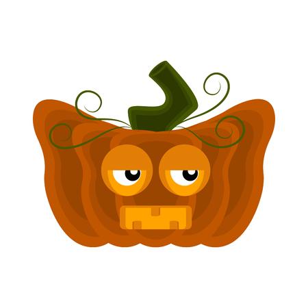 Personnage de dessin animé de citrouille d'Halloween dégoûté. Conception d'illustration vectorielle