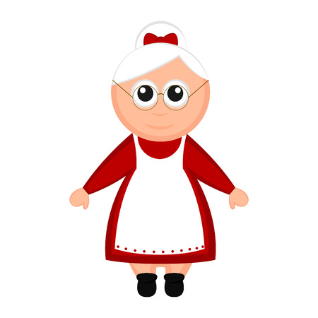 Christmas Mrs. Claus cartoon character. Vector illustration design