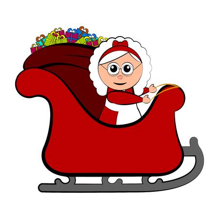 Mrs. Claus on a christmas sledge. Vector illustration design Illustration