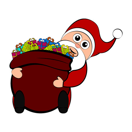 Christmas santa claus holding a present bag. Vector illustration design