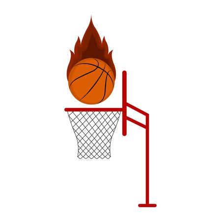 Isolated basketball ball on a net. Vector illustration design