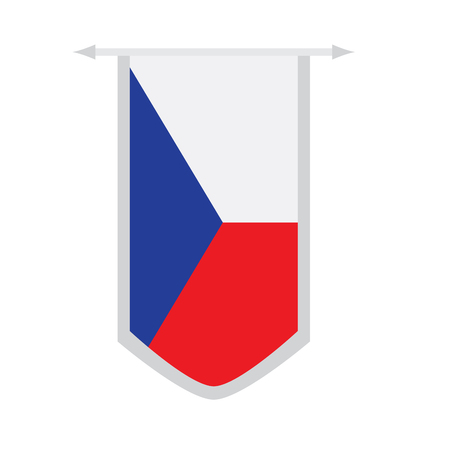Flag of Czech Republic on a banner. Vector illustration design