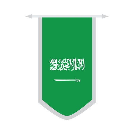Flag of Saudi Arabia on a banner. Vector illustration design