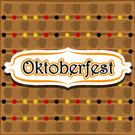 Label with text on a textured background. Oktoberfest. Vector illustration design Çizim