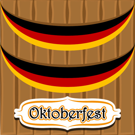 Wooden background with flags of Germany. Oktoberfest. Vector illustration design