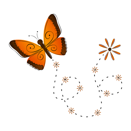 Cute butterfly flying icon. Vector illustration design Stock Illustratie