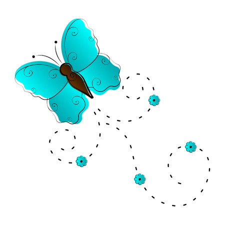 Cute butterfly flying icon. Vector illustration design Banco de Imagens