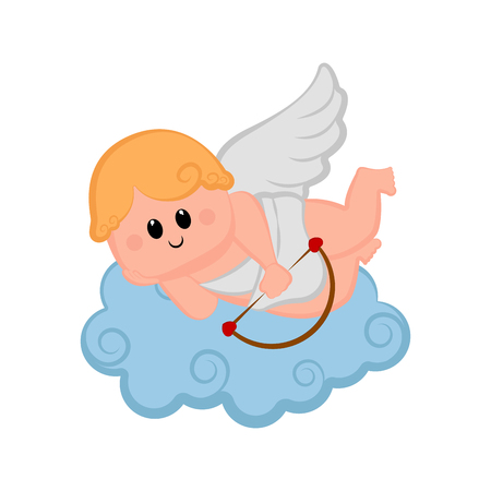 Cute cupid boy icon with bow and arrows. Valentine day. Vector illustration design