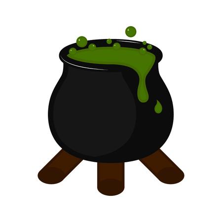 Isolated halloween witch cauldron icon.