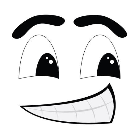 Uncomfortable comic facial expression. Vector illustration design