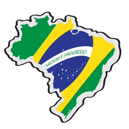 Map of Brazil with its flag. Vector illustration design