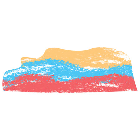 Isolated abstract flag sketch of colombia. Vector illustration design