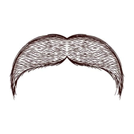 Croquis isolé de moustache. Conception d'illustration vectorielle