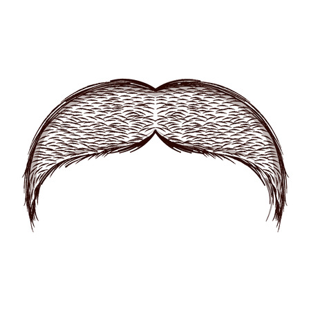 Isolated sketch of moustache. Vector illustration design