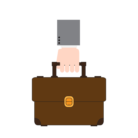Hand holding a suitcase icon. Vector illustration design