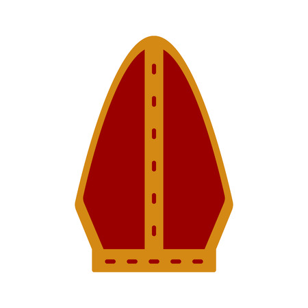 Icona del cappello del Papa isolato. oggetto cattolico. Disegno di illustrazione vettoriale