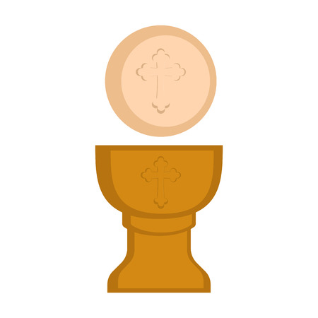 Communion cup and host. Vector illustration design Illustration