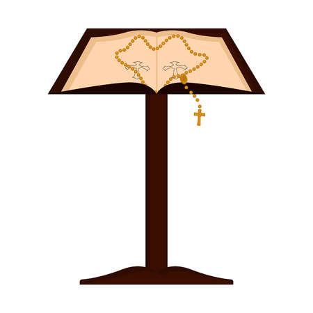 Isolated lectern with open bible and rosary. Vector illustratin design Vectores