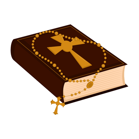 Isolated holy bible icon with rosary beads. Vector illustration design