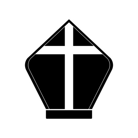 Isolated pope hat silhouette. Catholic object. Vector illustration design