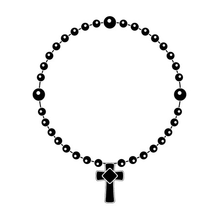 Catholic denarius silhouette. Rosary concept. Vector illustration design Çizim