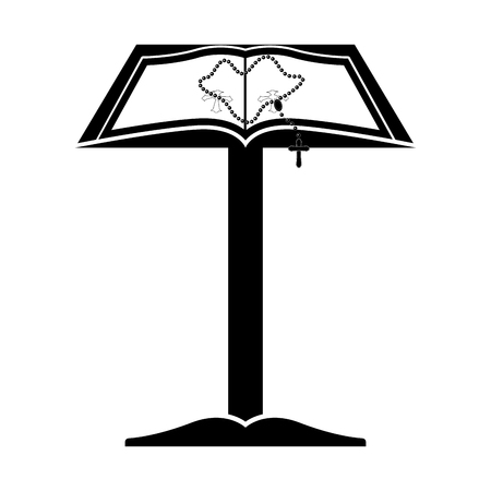Isolated lectern with open bible and rosary. Vector illustratin design Illustration