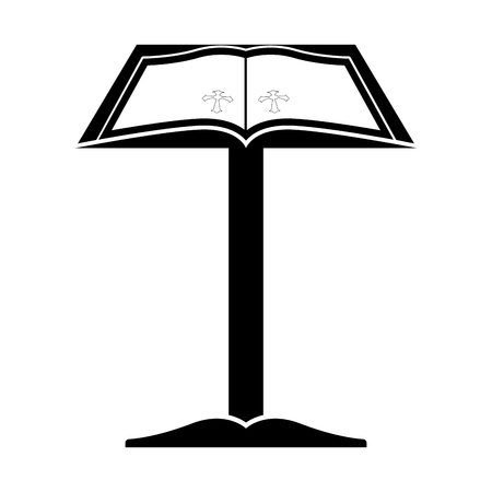 Isolated lectern with open bible. Vector illustratin design