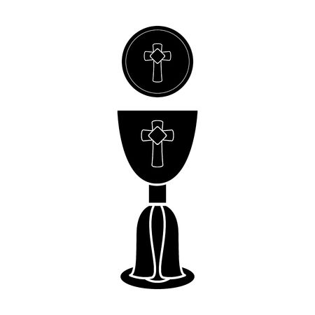 Silhouette of a communion cup and host. Vector illustration design