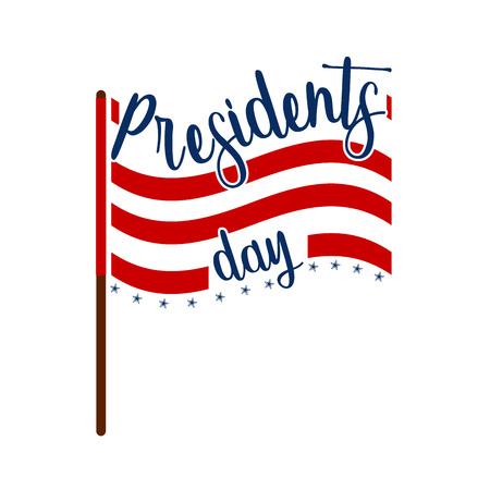 President day banner with flag of united states and text. Vector illustration design