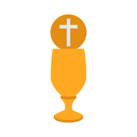 Chalice with an hostia. Vector illustration design