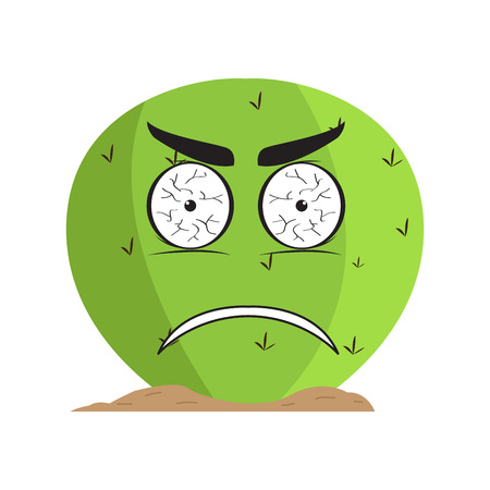 Isolated angry cactus character. Vector illustration design Illusztráció
