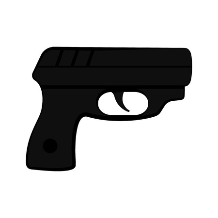 Isolated silhouette of a revolver. Vector illustration design Illustration