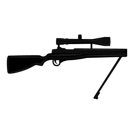 Silhouette of a sniper rifle. Vector illustration design Illustration