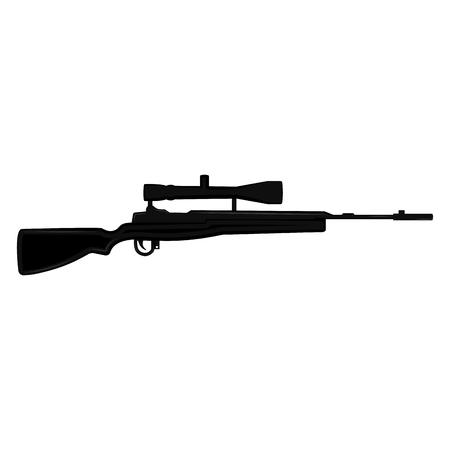 Isolated silhouette of a sniper rifle. Vector illustration design Ilustração Vetorial