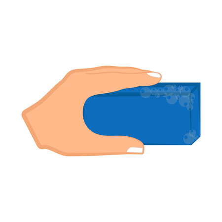 Hand holding a sponge. Vector illustration design 矢量图像