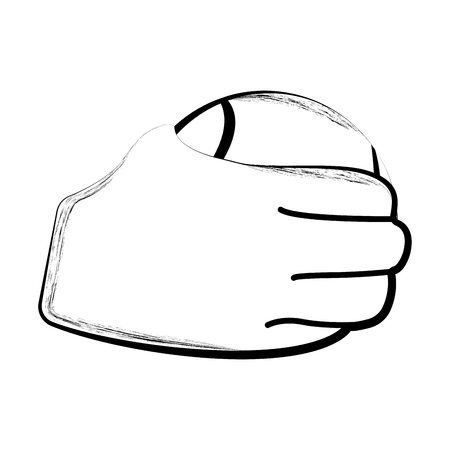 Sketch of a hand holding a tennis ball. Vector illustration design