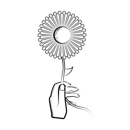 Sketch of a hand holding a sunflower. Vector illustration design  イラスト・ベクター素材